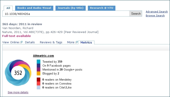 Altmetrics display in Library OneSearch - example one