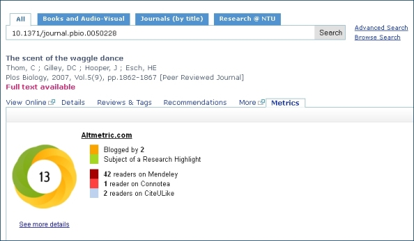 Altmetrics display in Library OneSearch - example two